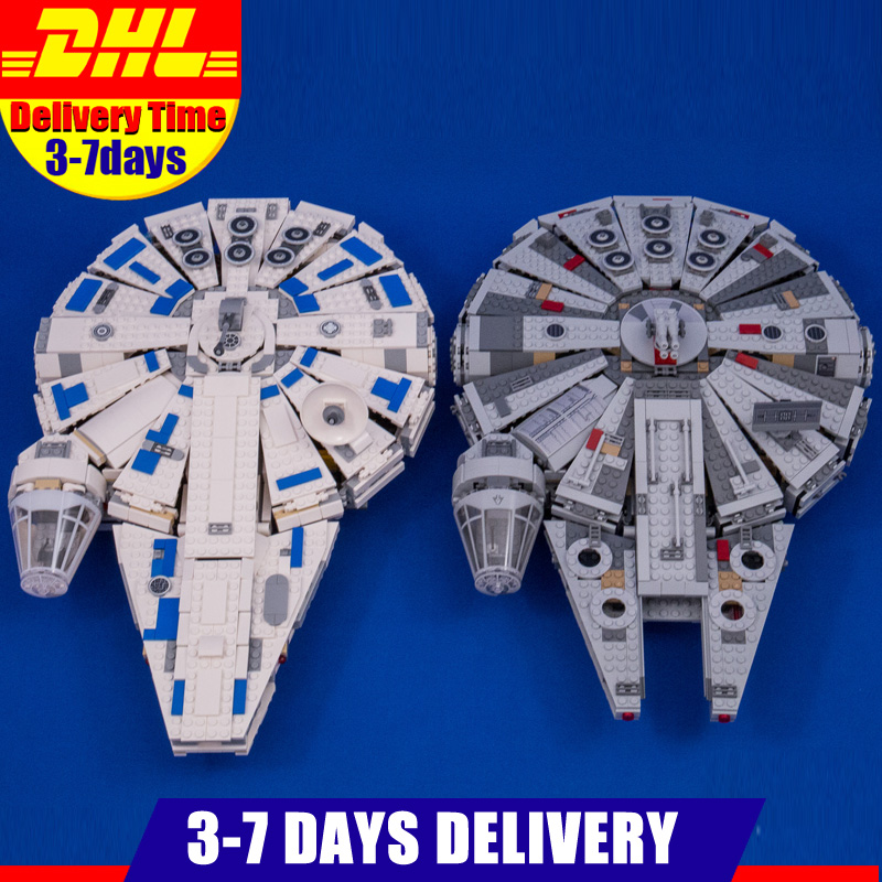 DHL IN Stock 1381PCS Lepin 05007 05142 Star Force Awakens Millennium Falcon Toy Building Kit Set Kids Toy Clone 75105 75212 dhl lepin 05142 star building blocks force toy awakens millennium kids toys falcon model legoings 75212 birthday christmas gifts
