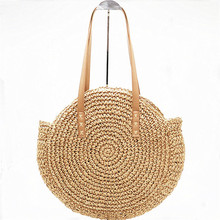 New Natural Ladies Tote Large Handbag Hand-woven Big Straw Bag Round Popularity Straw Women Shoulder Bag Beach Holiday Bag A4 two tone straw tote bag