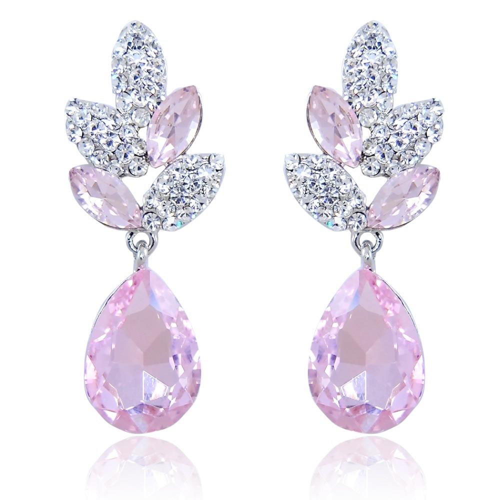 BELLA Baby Pink Tear Drop Party Wearings Wedding Earrings ...