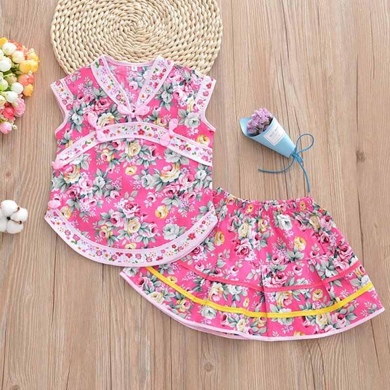 子供の袍スカート夏の子供の女の子服セット袍綿ドレス中国風のノースリーブトップ + ドレス 2 ピース