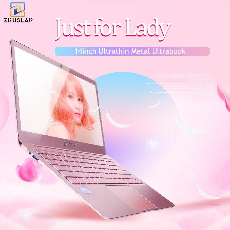 ZEUSLAP Dame Rose Rose Ultra-Mince En Métal Portable 6 gb Ram Intel Quad Core CPU 14 pouces 1080 p Full HD IPS Écran Ordinateur Portable