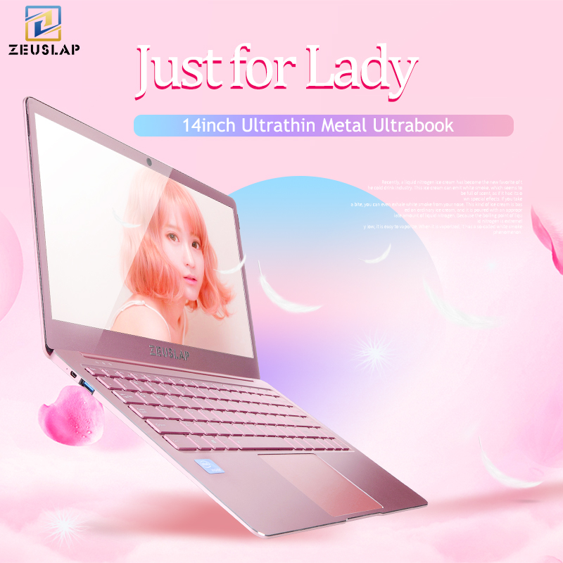 ZEUSLAP Lady Rose Rosa Ultrasottile Del Computer Portatile In Metallo 6 gb di Ram Intel Quad Core CPU 14 pollici 1080 p Full HD IPS Dello Schermo Del Computer portatile