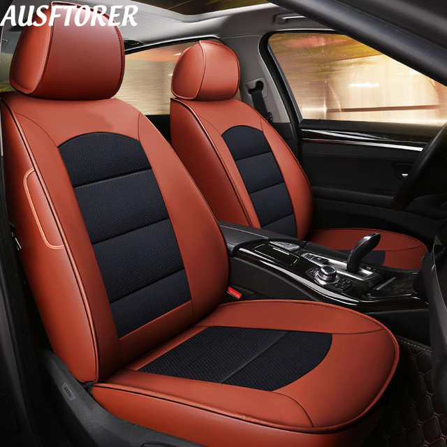 Ausftorer Cowhide Leather Automobiles Seat Covers For Subaru Xv 2018