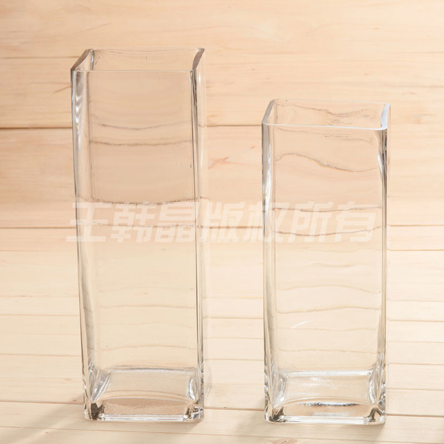 Transparent Square Glass Vase Flower Wholesale Wedding Leads Modern