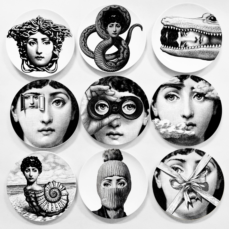 European MILAN style goregous rare Fornasetti plates nordic style wall hanging decorative dish creative ceramic craft decor
