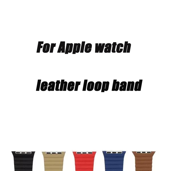 Genuine straps 38/40/42/44mm for apple watch Leather Loop band series 1 2 3 4 wristband for iwatch adjustable magnetic closure leather loop band for apple watch series 3 2 adjustable magnetic closure loop strap watchband for apple watch 42 38 40 44mm ba