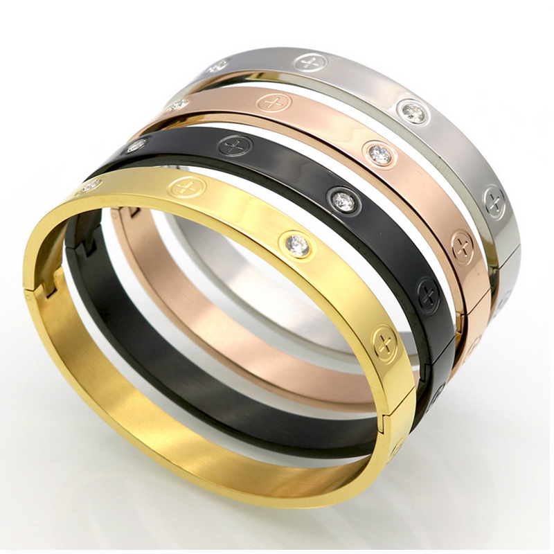 High Quality Fashion Accessories Rose Gold/gold/silver Plated Metal Cuff Bracelets Bangles For Women Men Jewelry with Dust Bag