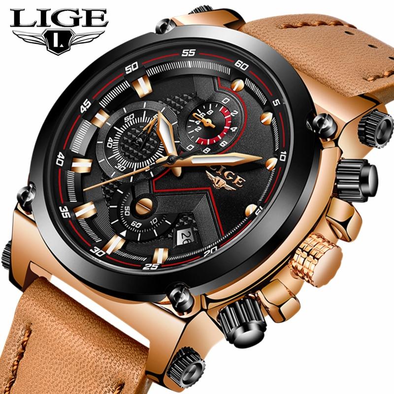 Relojes hombre LIGE Hommes Montres Top Marque De Luxe Montre À Quartz Occasionnel Hommes En Cuir Grand Cadran Militaire Étanche Montres de Sport