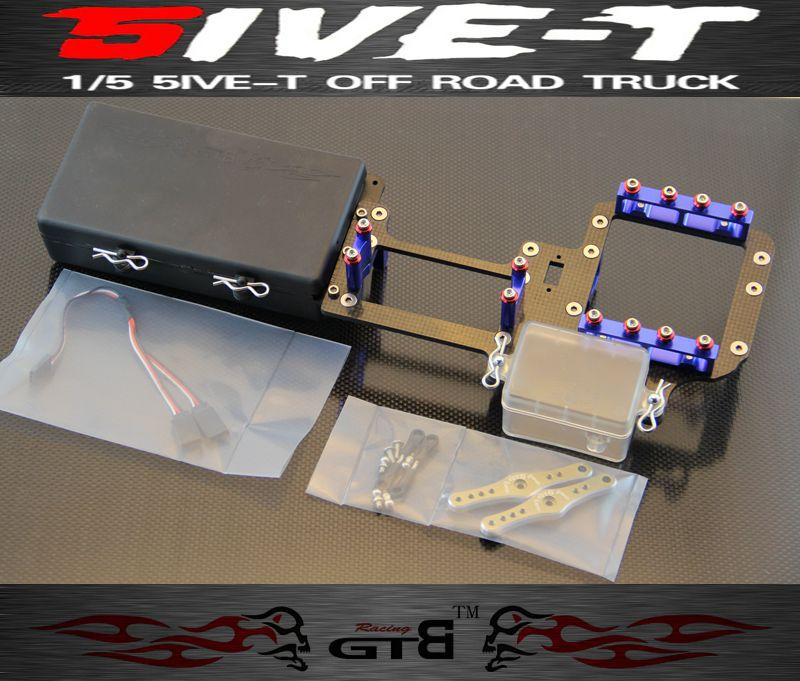 GTB RACING Dual Steering Servo Radio Tray Full Carbon fiber Version For LOSI-5T gtb racing double servo radio tray for losi 5ivet