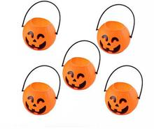 5 PCs Hang-able Plastic Pumpkin Bucket For House Decor