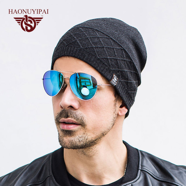 845c892ee22f79 Cool Mens Beanies Hats Black Knitted Winter Warm Adult Male Cap Gorros  Fashion Casual Style Solid Color Skullies Bonnet Hat