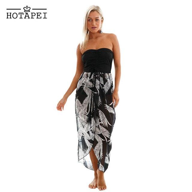 90f1a934eb6a Hotapei Beach Dresses sexy Black White Print cover up dress LC42159 women  2018 side split chiffon Pareo Saida De Praia Swimsuits