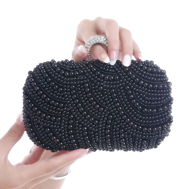 European And American Graceful Pearl Dinner Bag,Beading Wedding Lady Clutches Rhinestones Luxurious Handmade Style Evening Bag