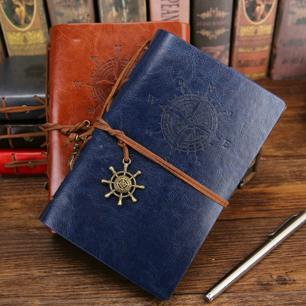 2020 Spiral Notebook Diary Notepad Vintage Pirate Anchors PU Leather Note Book Replaceable Stationery Gift Traveler Journal