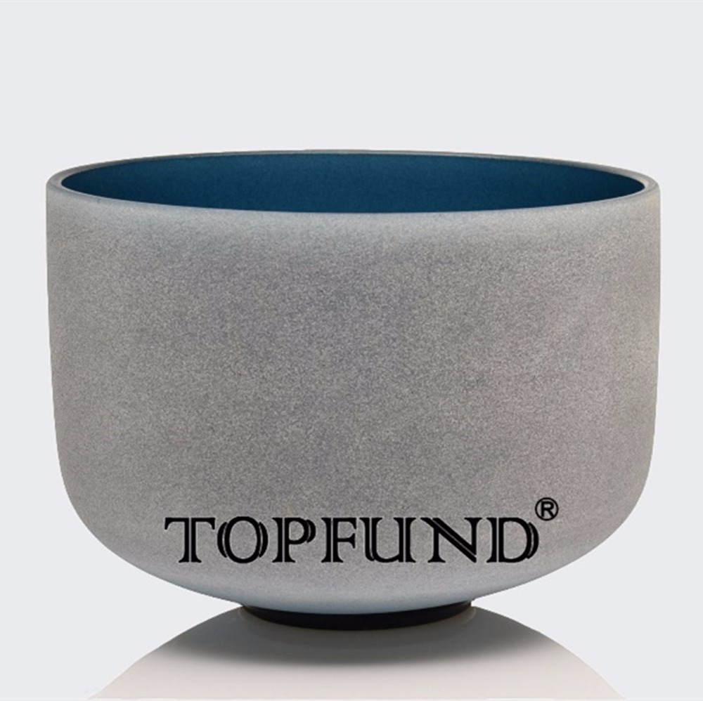 TOPFUND Indigo Color Perfect Pitch A Third Eye Chakra  Frosted Quartz Crystal Singing Bowl 10 With Free Mallet and O-Ring topfund green color perfect pitch g zeal chakra frosted quartz crystal singing bowl 8 with free mallet and o ring