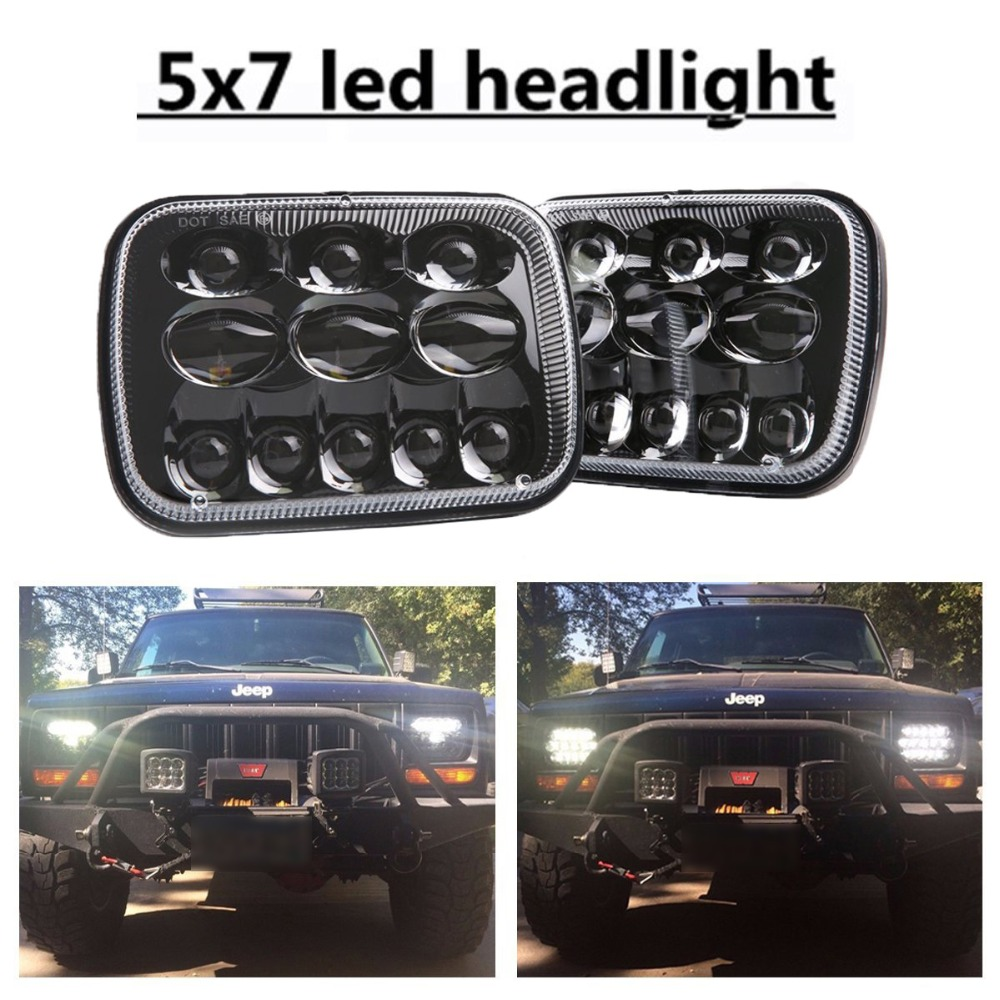 80W 2 pcs 5X7 7X6 inch Rectangular Sealed Beam LED Headlight for H6014 H6052 H6054 H6052 Truck LED Headlight 105w 5x7 7x6 inch rectangular sealed