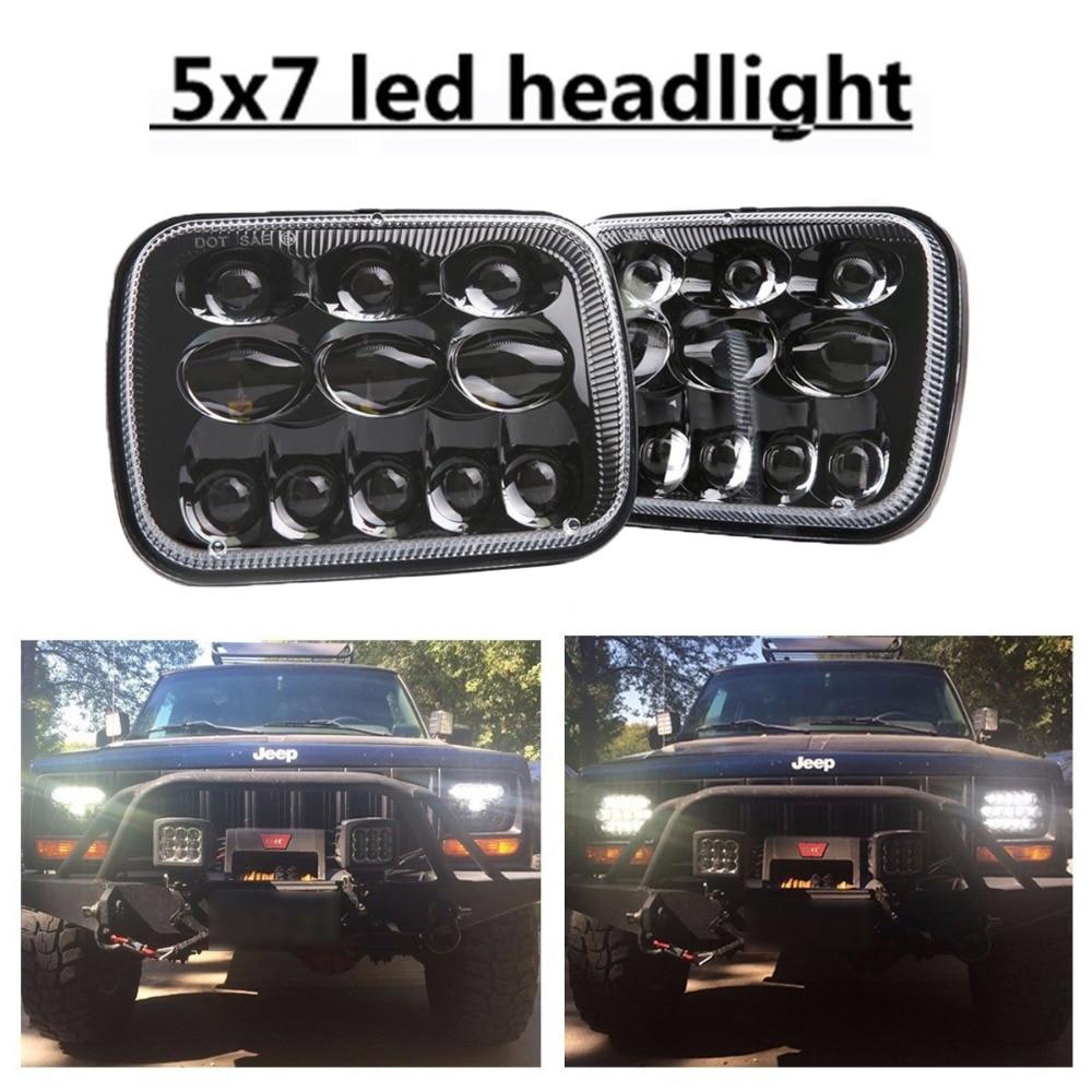 80W 2 pcs 5X7 7X6 inch Rectangular Sealed Beam LED Headlight for H6014 H6052 H6054 H6052 Truck LED Headlight