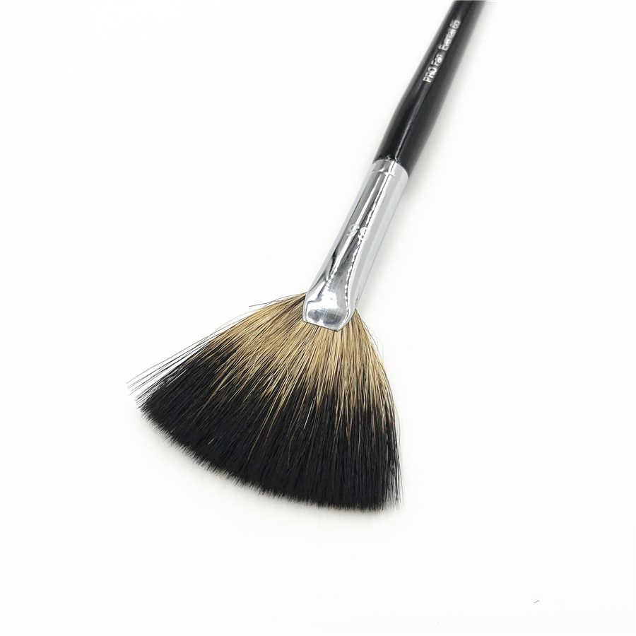 Profissional Escova Fã #65 Preto Punho Longo Cabelo Macio de Cabra Pro Acabamento Ventilador de Pó Bronzer Makeup Brushes Cosméticos Liquidificador