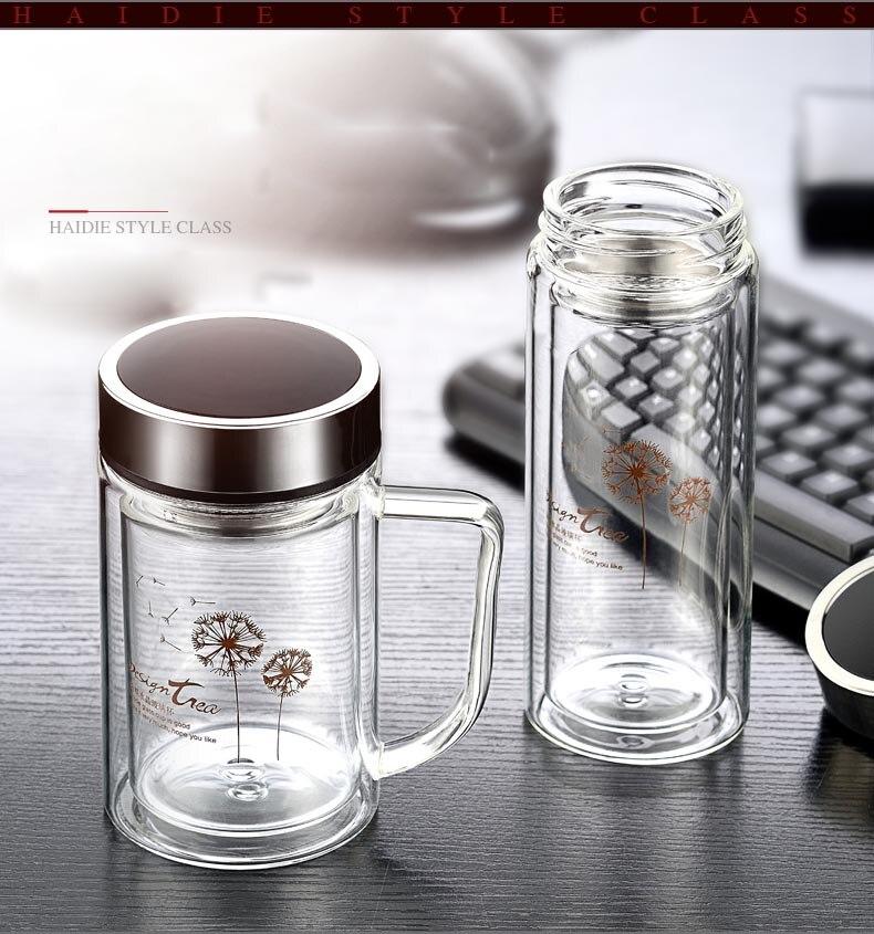 350cc краткое прозрачная бутылка воды термостойкие Стекло бутылка с Нержавеющаясталь фильтр Посуда для напитков двойными стенками Стекло с...