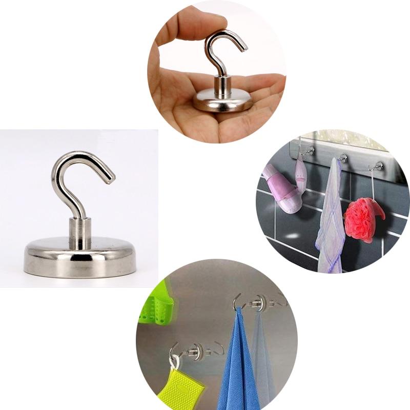 Magnetic Key Holder Mini Kitchen Wall Hold Power Neodymium Magnet Hook Bathroom Magnetic Circular Hook Hanger Magnets Door Hooks in Hooks Rails from Home Garden