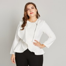 Large Size Ruffle White Blazer for Women