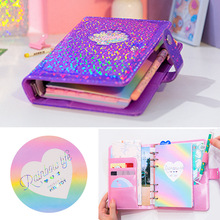 Cute Kawaii A6 Notebook Laser Agenda Weekly Planner Organizer Dividers Spiral Personal Travel Diary Journal PU Leather Note Book