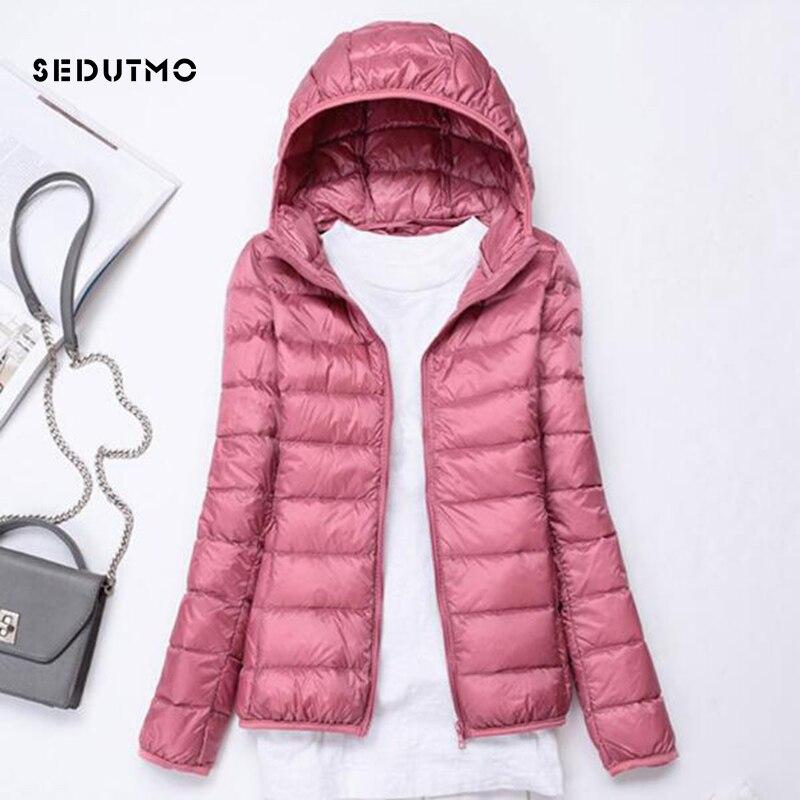 SEDUTMO Spring  Ultra Light Duck Down Jackets Women Winter Plus Size 3XL Coat Hooded Short Slim Puffer Jacket ED229