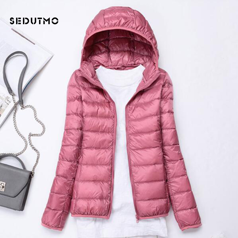 SEDUTMO Spring Ultra Light Duck   Down   Jackets Women Winter Plus Size 3XL   Coat   Hooded Short Slim Puffer Jacket ED229