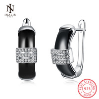 INALIS 925 Sterling Silver Square Zircon Stud Earrings White Color Black Color Ceramics Earrings For Women
