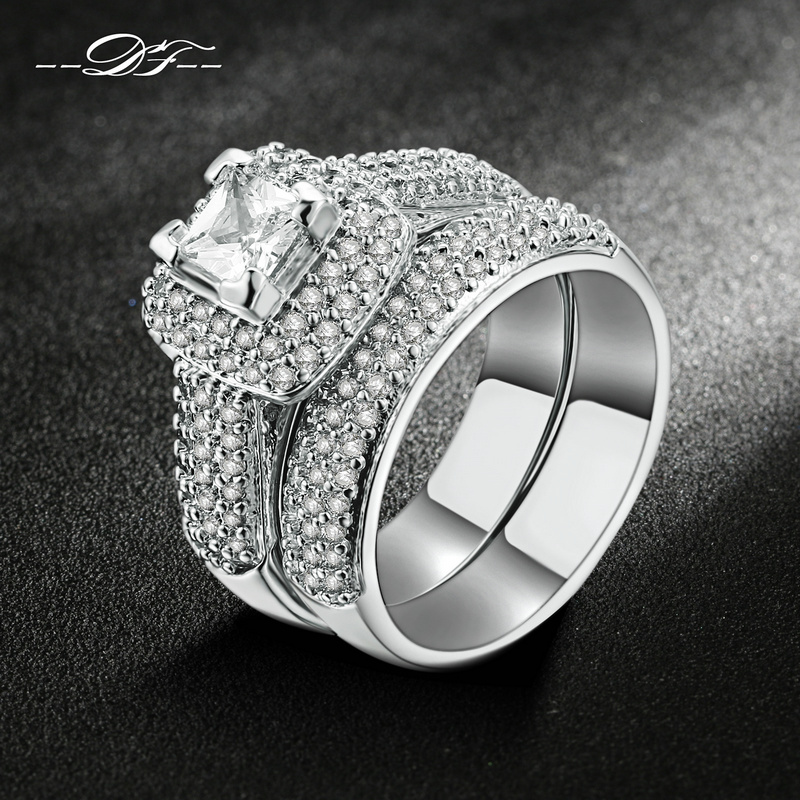 Top Quality Silver Color Aaa Cubic Zirconia Rings Sets
