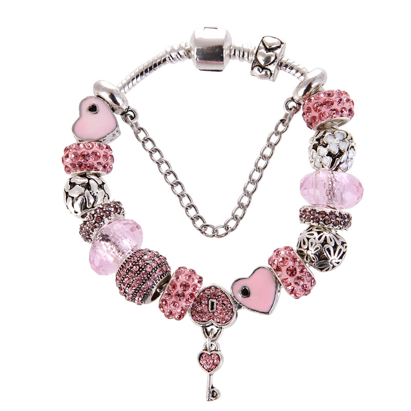 Silver plated Pink Crystal Beads Key pendant Rhinestone Charm DIY Fashion Elegant Pandora Bracelet For Women/Gril gift jewelry