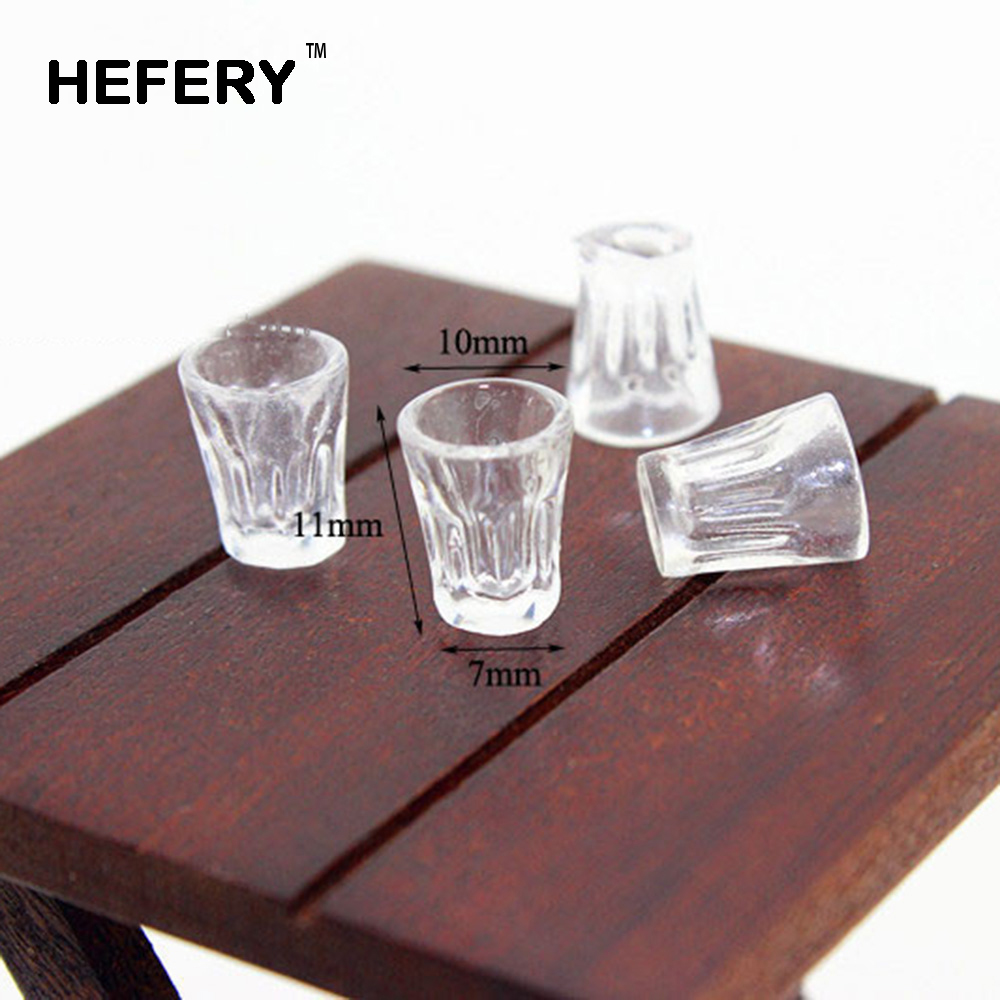 4Pcs 1/12 Dollhouse Miniature Accessories Mini Resin Transparent Cup Simulation Furniture Model Toys For Doll House Decoration