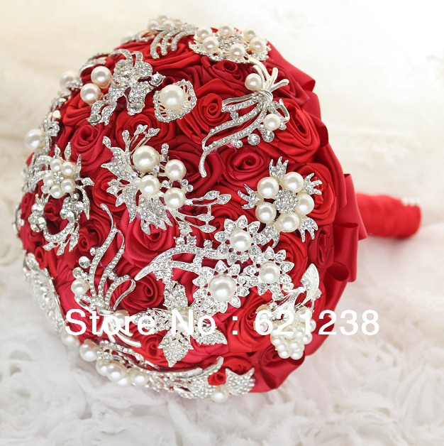 8 Inch Handmade Brooch Bouquet Of Red Roses / Wedding Bouquet DIY Jewelry / Bridal Bouquet