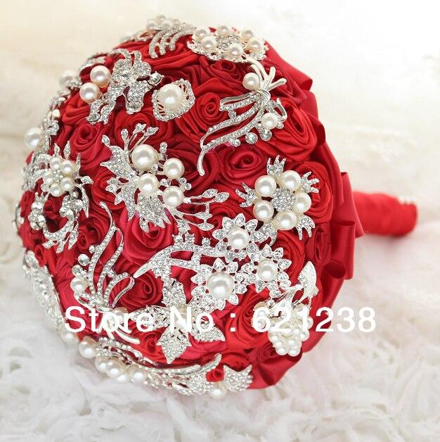8 pouces à la main broche bouquet de roses rouges/Bouquet de mariage bijoux à bricoler soi-même/bouquet de mariée
