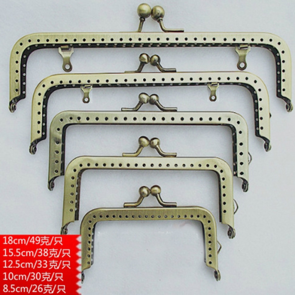 8.5 10.5 12.5 15.5 18.5cm Smooth Glaze Bronze Color Women Diy Purse Frame Coin Bag Metal Clasp Kiss Buckle 10pcs/lot