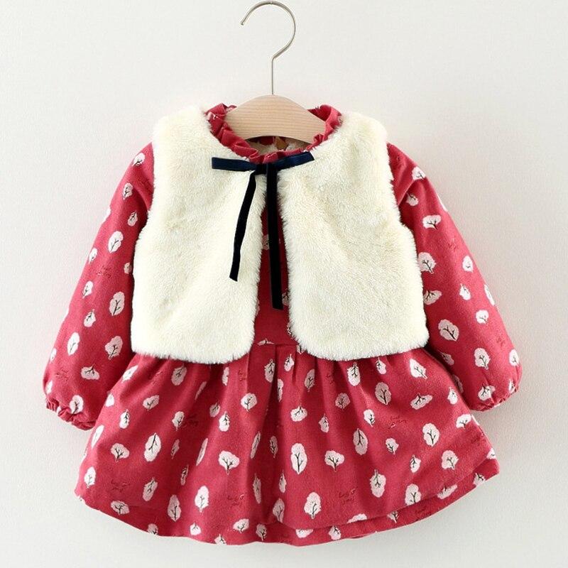 217679076ac Baby Girl Clothes Autumn Winter Long-sleeve Printing Plus Cashmere Dress+Fur  Vest 2Pcs Kids Clothes Children Party Dresses