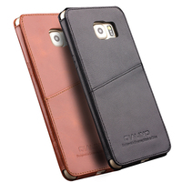 QIALINO Real Genuine Leather Case For Samsung Galaxy S6 Edge Plus Inserted Style In Back Cover