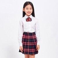 Conjunto de Roupas 2018 Meninas de Algodão Camisa de Renda + Saia Plissada Xadrez Uniformes Escolares Mulheres Terno