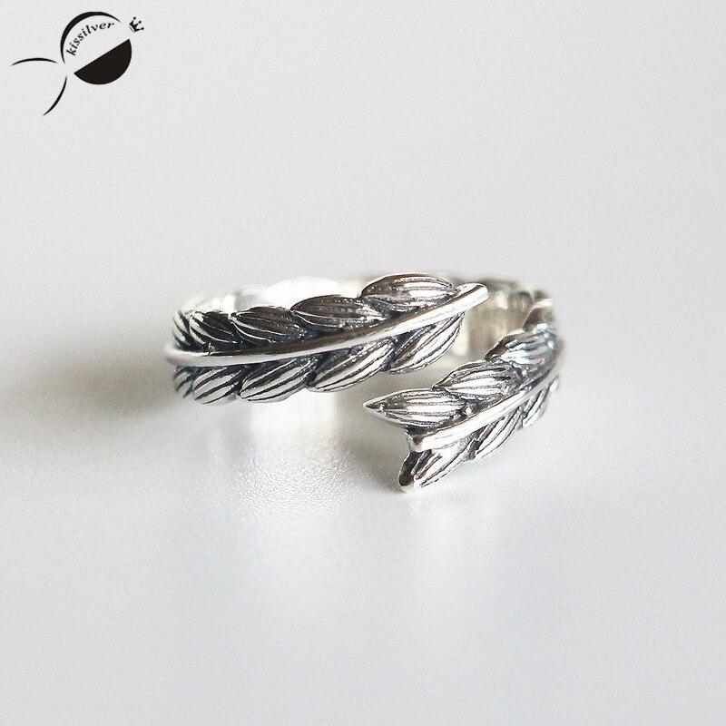 Ретро колосья пшеницы S925 стерлингов Серебряные кольца для Для женщин кольцо Fine Jewelry новые открытия женский Юбилей кольца Подарки для матери