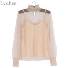 Lychee Elegant Spring Autumn Women Blouse See Through Mesh Stand Collar Lantern Sleeve Camis 2 Pieces Set