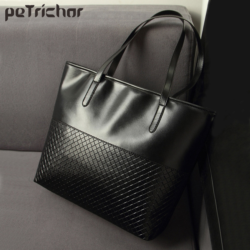 Hot Large Capacity Shopping Tote Bag For Women Black PU Leather Plaid Pattern Ladies Handbags Female Purse Shoulder Bags Shopper 2018 new women bag ladies shoulder bag high quality pu leather ladies handbag large capacity tote big female shopping bag ll491