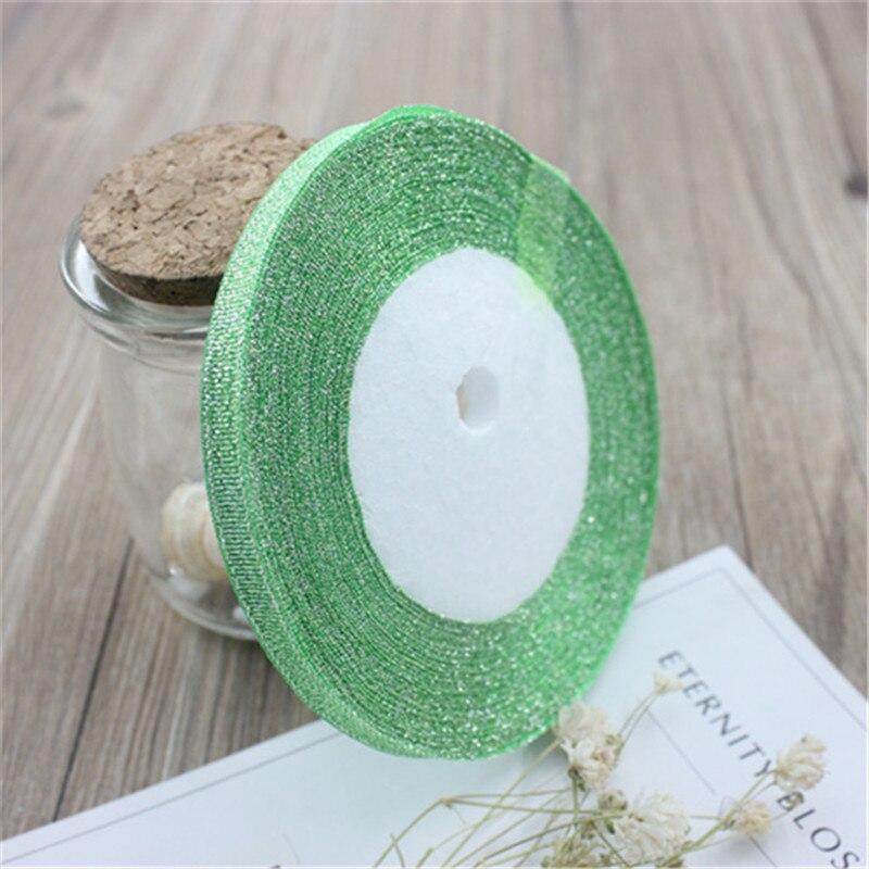 6 мм шириной 25 метров в длину, для украшения дома, вечерние, свадебные, шелковые атласные ленты, упаковочный материал для подарков, сделай сам, новогодний, Рождественский подарок - Цвет: green