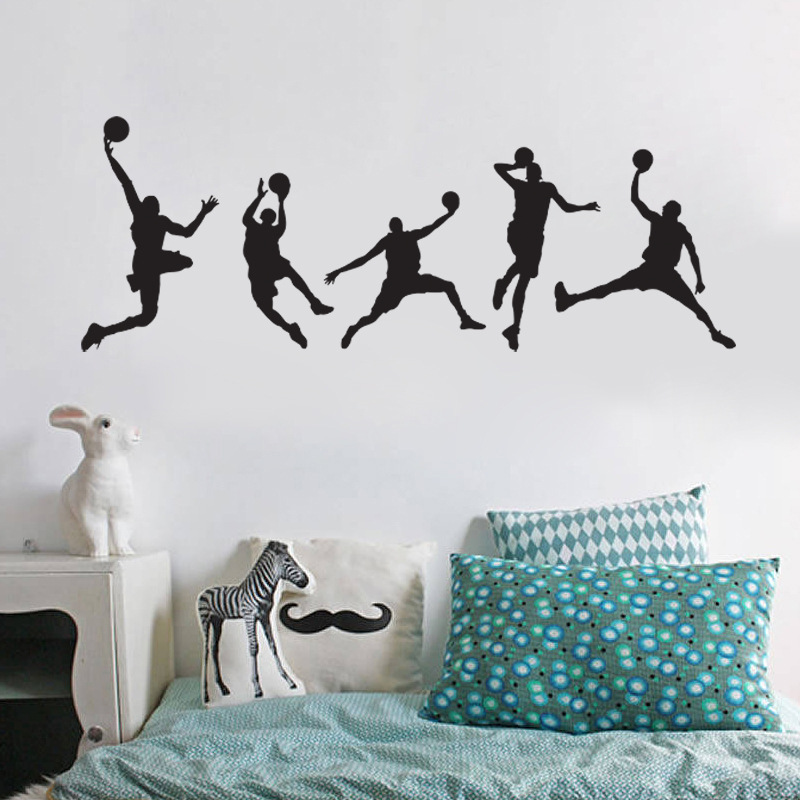 Personalized Decorative Wall Stickers Boy Playing Basketball Sports Mural Bedroom Living Room Decorative Remove Sticker