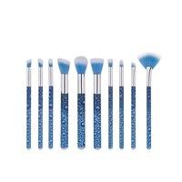 10 pçs/set Pincéis de Maquiagem profissional Definida Fundação Blending Sombra Em Pó Contour Concealer Blush sobrancelha máquina de impressão em Rolo