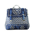 2017 British women's leisure trade wind backpack hand woven denim Backpack Bag drill