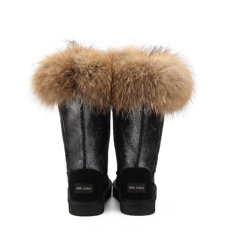 Genuino Modo Invernali Alta Stivali Inverno Colori black Neve Donne Navy Mucca Delle Della Di Naturale Reale Fox Da Pelliccia Lunghi Caldo Del Blue 2 Cuoio qda8HU