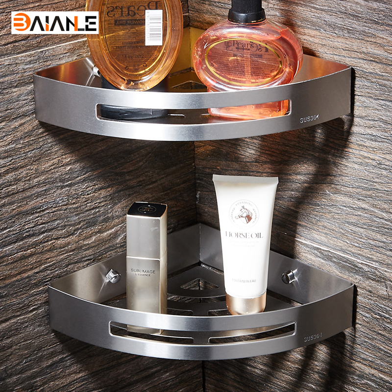 stainless steel bathroom shelves brushed nickel wall mount triangle shower caddy rack bath. Black Bedroom Furniture Sets. Home Design Ideas
