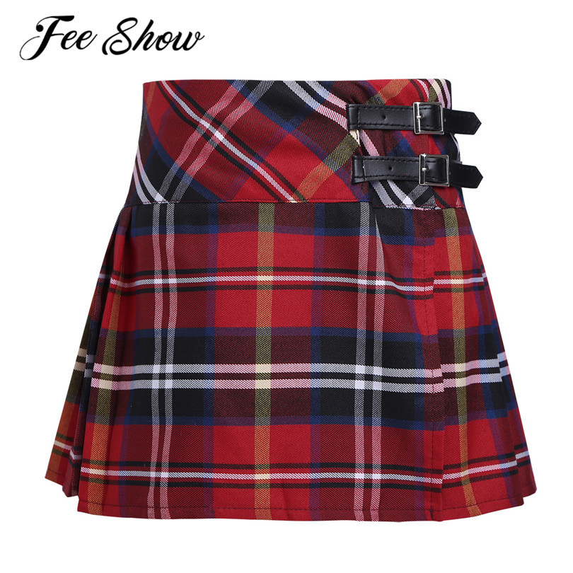 4-14 Years Fashion Pleated Side Split Plaid Kids Girls A-line Skirt Tartan Kilt with Faux Leather Buckle School Girls Skirt