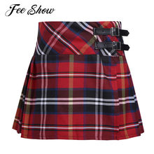 4-14 Years Fashion Pleated Side Split Plaid Kids Girls A-line Skirt Tartan Kilt with Faux Leather Buckle School Girls Skirt(China)