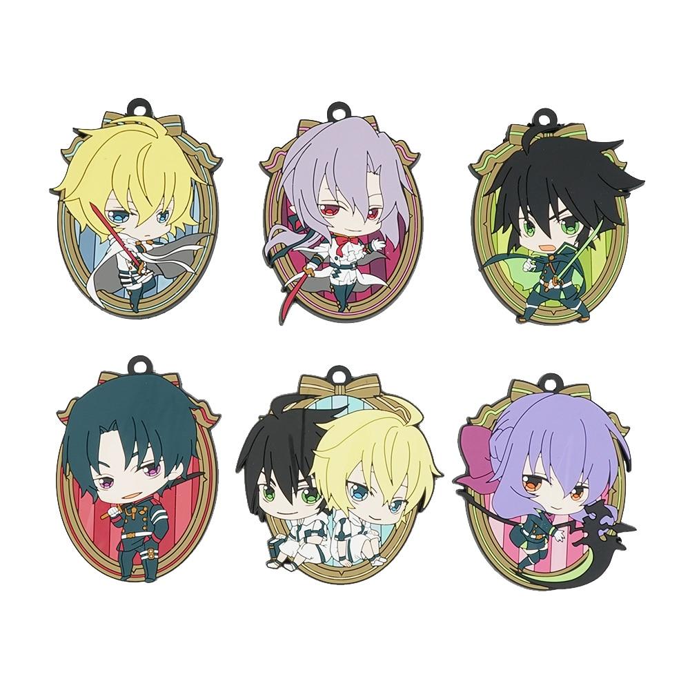 Seraph Of The End Owari No Seraph Anime Ferid Bathory Yuichiro Hyakuya Hiiragi Shinoa Guren Ichinose Rubber Keychain